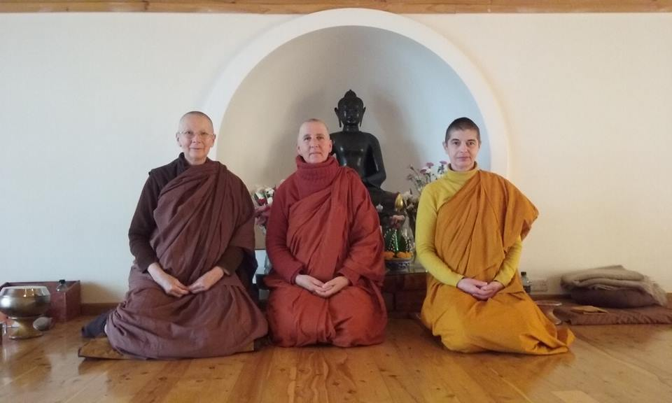 Venerable Bhikkhuni Ayya Nirodha on the left. Me in the centre and Samaneri Vajira on the right who will be also have her higher ordination at the same time as I will .